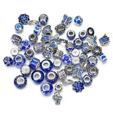10pc Mixed Blue Crystal Glass Beads, Crystal Alloy BEADS Fit Charm Bracelet