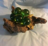 Vintage Mid Century Modern Acrylic Lucite Grapes on Driftwood...Green Retro