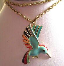 pendentif chaîne collier oiseau du paradis émail couleur bijou couleur or   3406