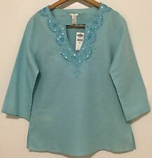 Old Navy Linen Blend Top Sz M Aqua Embellished Embroidery 3/4 Sleeve Women's