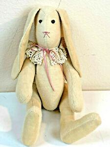 "VTG Handmade Bunny Rabbit Doll Folk Art Floppy Ears Felt Fabric 15"" Primitive"