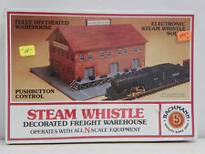 "BACHMANN N SCALE U/A ""STEAM WHISTLE DECORATED FREIGHT WAREHOUSE"" PLASTIC KIT"