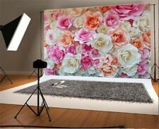 Blooming Rose Flower Wall 7x5' Photography Background Vinyl Photo Backdrop Props