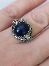 Vintage Sterling Silver Lapis Lazuli Modernist organic eye Ring Hallmarked 1970