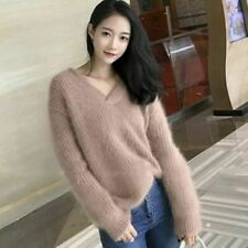 V Neck Sweater Long Sleeve Pullovers Mohair Loose Women Casual Tops Winter sweet