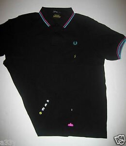 SPACE INVADERS POLO Fred Perry PIQUE T SHIRT XS game arcade ship robot aliens