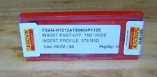 """Sandvik Coromant N1512A .156"""" Parting Inserts-Factory Sealed Pack of 10 *NEW*"""