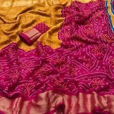 Chiffon Saree Sari With Bandhej Digital Printed | Weaving Border Saree Blouse SL