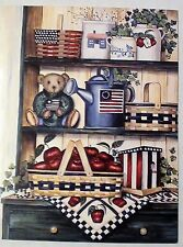 10 BLANK GREETING CARDS-PATRIOTIC COUNTRY SHELVES-BEAR-BASKETS-WATER CAN APPLES