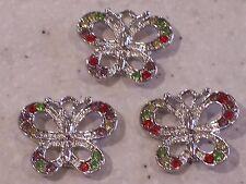 3 Silver Tone Butterfly Charm Pendants with Rainbow Rhinestones - FREE P&P!