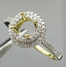 Fit 5.5mm Round Cut Stone 14k Yellow Gold Natural Diamond Semi Mount Unisex Ring
