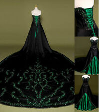 Black&green Bead Ball Bridal Gown Wedding Dress Straples Cathedral Train Custom