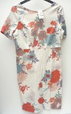 new Women's Round Neck George Dress Floral Short Sleeves Cotton Mix – Size 16