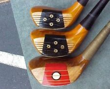 Custom Persimmon Golf Clubs set Refinish Woods Driver 4 5 w New Tour Wrap Grips