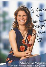 Autogramm Stephanie Megerle Badische Weinprinzessin handsigniert 2018/19 #