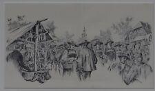 """Walther VON VIGIER (1851-1910) """"Der Dorfmarkt in Langnau"""" Federzeich (280-13011)"""
