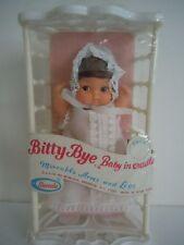 "Ultra Rare Vintage Uneeda 1974 Big Eyes Doll "" Bitty Bye Baby In Cradle "" New"