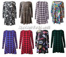 Women New Ladies Summer Printed Tartan Swing Dress Top T Shirt UK 8-26