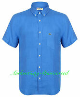 Lacoste Men's Short Sleeve Linen Shirt Blue / Turquoise RRP £100 BNWT SALE!