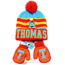 Thomas Tank Engine Friends Beanie Mitten Gloves Set - College Stripe Cuff Red
