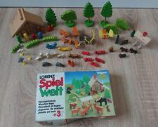 Lorenz Spiel Welt, Holzspielzeug, Bauernhaus, Tiere und Figuren, Dorf, Zoo, 80er