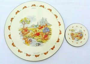 Royal Doulton Bunnykins Placemat And Coaster Set 1993 Vintage Collectable
