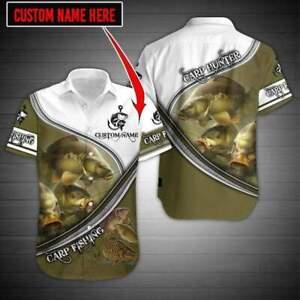 Carp Fishing custom name Aloha Hawaiian Shirts Full Size S-5XL