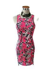 ALLY Dress - Pencil Floral Fluro Pink Blue White Zip Mini Bodycon Club Party - 8