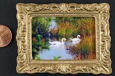 """Miniatur Bild """"Schwäne"""" 50 x 65 mm Gemälde 1:12 Puppenstube Puppenhaus"""