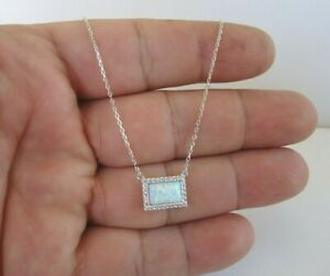 RECTANGLE OPAL NECKLACE PENDANT W/  LAB DIAMONDS / 925 STERLING SILVER / 18''