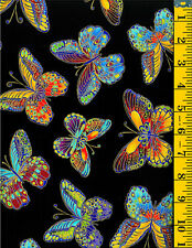 Glimmer Butterflies Metallic accents cotton fabric BTY Timeless Treasures Medium