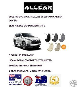 Sheepskin Car Seat Covers for Mitsubishi Pajero Sport, Seat Airbag Safe, 30mm.