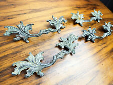 Vtg French Metal Baroque Brass Drawer Pull Cabinet Handles Decorative Hardware