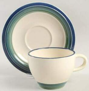 Ocean Breeze Cup Saucer Set (s) Pfaltzgraff backstamp Stoneware White Green Blue