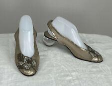 Vintage Pensato Lucite Ball Heel Gold Leather Jewel Front Sling Back Shoes 1980s