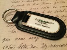 ASTON MARTIN WHITE PRINTED BLACK LEATHER KEY RING FOB DB 7 8 9 10 11 VANTAGE