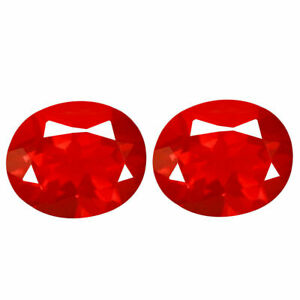 1.05 Carat Natural PAIR 6.38x5.25x3.79 Fanta Orange FIRE OPAL for Setting Oval