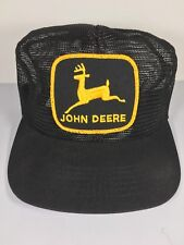 Vintage John Deere Black Tractor Trucker Hat Mesh Embroidered Patch USA Made