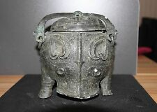 Chinese bronze Tiliang Pot Shang dy pig face pattern chain pot beast mask Lid