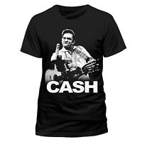 Johnny Cash T Shirt Finger Official Black Mens Tee Retro Classic Rock NEW Unisex