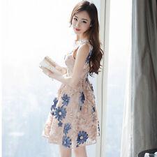 Korean Empire Waist Summer Long Fashion Women Sleeveless Embroidery A-Line Dress