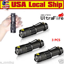 Ultrafire 3PCS CREE LED Flashlight Torch 7W 6000LM Adjustable Focus Zoom Light