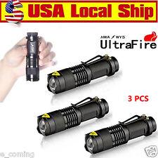 Ultrafire 3PCS CREE LED Flashlight Torch 7W 6000LM Adjustable Focus Zoom Light