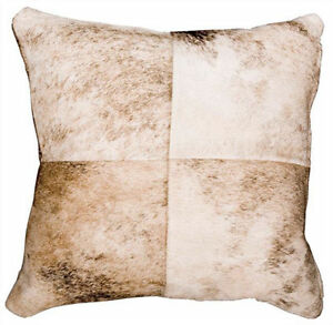 Light Exotic Patchwork Cowhide Cushion