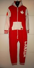 TIPSY ELVES ~ CANADA Maple Leaf Jumpsuit Overalls ~ Size Large L ~ Mens Womens