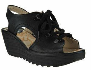 FLY London Leather Lace-Up Wedge Sandals Ylfa Black