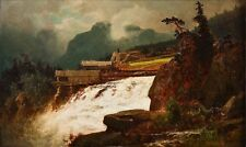 Oil painting Erik Bodom Foss med sagbruk landscape with river free shipping cost