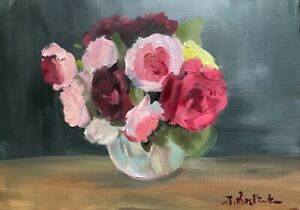 A3 Print of Original oil painting art abstract floral grey pink contemporary art
