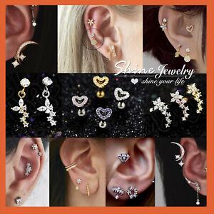 Gem Diamond Ear Climber Helix Tragus Cartilage Ring Bar Stud Piercing Earring x1