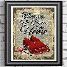 Wizard Of Oz Red Shoes Home Quote Vintage Dictionary Page Print Picture Wall Art